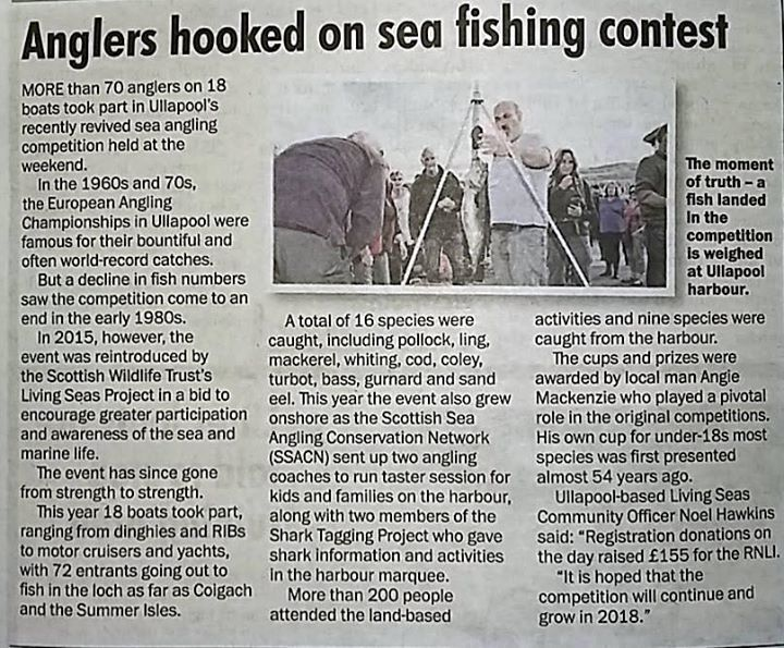 Article from the North Star about the Sea angling competition with ourselves, Living Seas and Scottish Shark Tagging Programme!